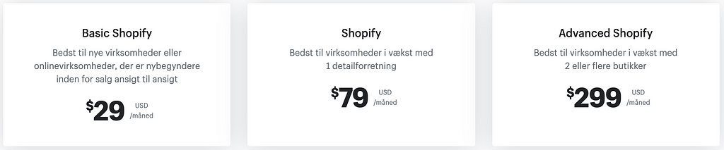 Shopify priser