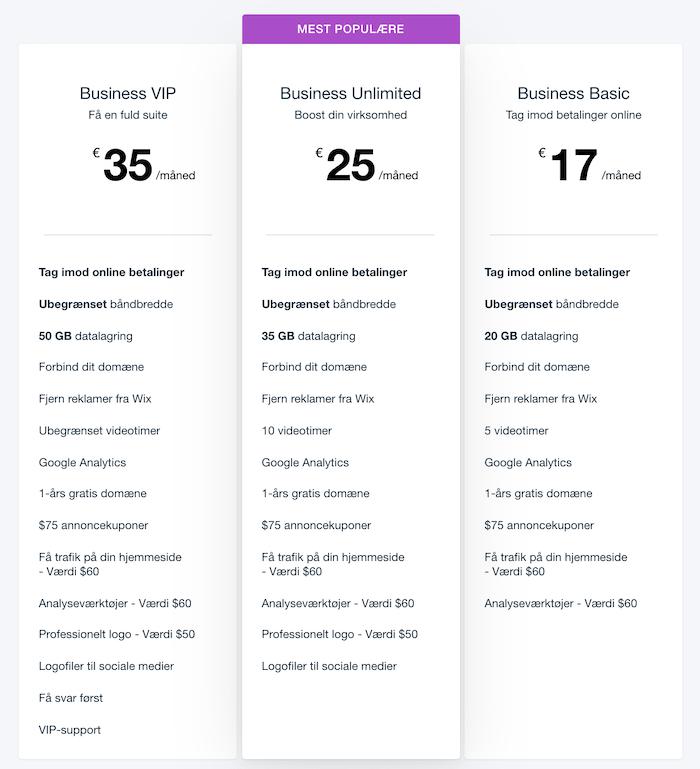 Wix webshop pris
